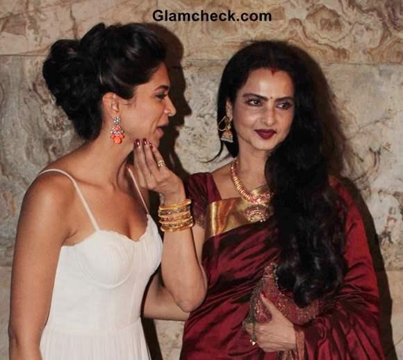 Rekha with Deepika Padukone at Ram Leela Screening