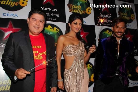 Sajid Khan Shilpa Shetty and choreographer Terence Lewis during the Diwali celebration on the sets of Nach Baliye 6