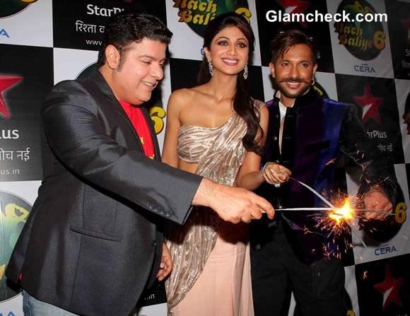 Shilpa Shetty Terence Lewis and Sajid Khan during Diwali celebration on the sets of Nach Baliye 6