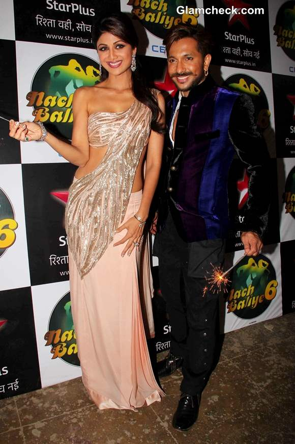Shilpa Shetty and choreographer Terence Lewis during the Diwali celebration on the sets of Nach Baliye 6