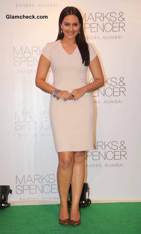 Sonakshi Sinha in Beige Dress at Marks  Spencer Store Opening in Mumbai