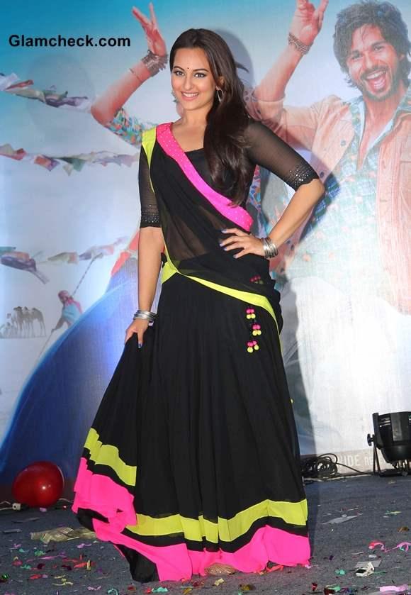 Sonakshi Sinha in Black Lehenga at R Rajkumar Music launch