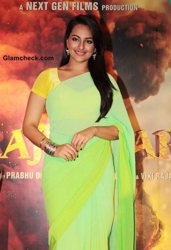 Sonakshi Sinha in yellow and lime green sari Promotes R Rajkumar