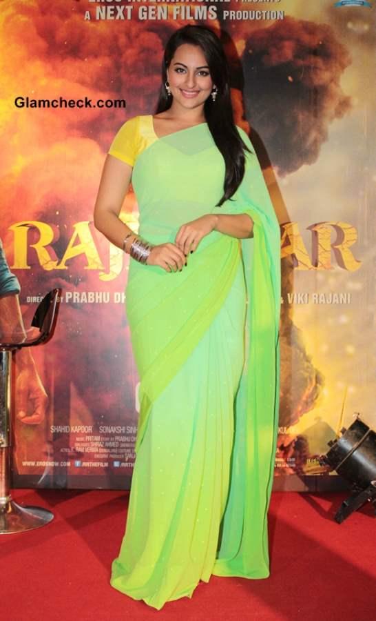 Sonakshi Sinha in yellow and lime green sari at R Rajkumar Promotions