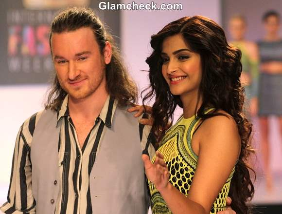 Sonam Kapoor in Mark Fast Fishtail Gown at SIFW 2013