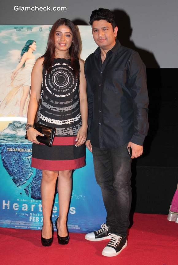 Sunidhi Chauhan with Film Maker Bhushan Kumar at Heartless Trailer Release