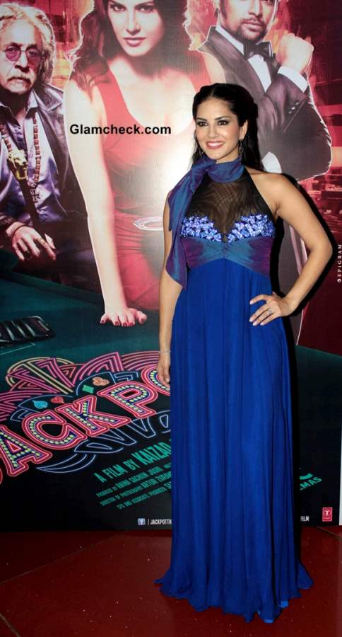 Sunny Leone in Blue Gown at Jackpot Theatrical Trailer Release in Mumbai