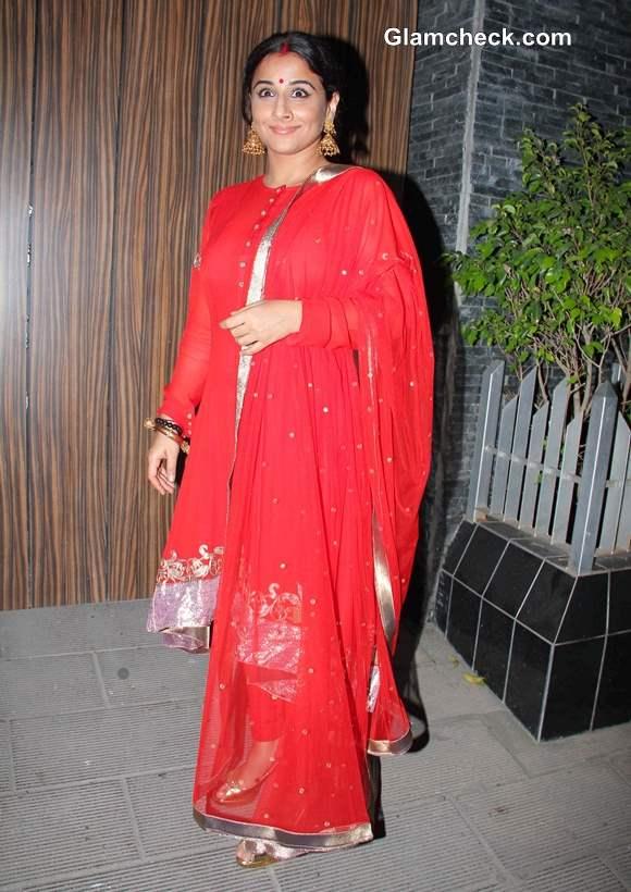 Vidya Balan in Red Suit at Aamir Khan Diwali Party