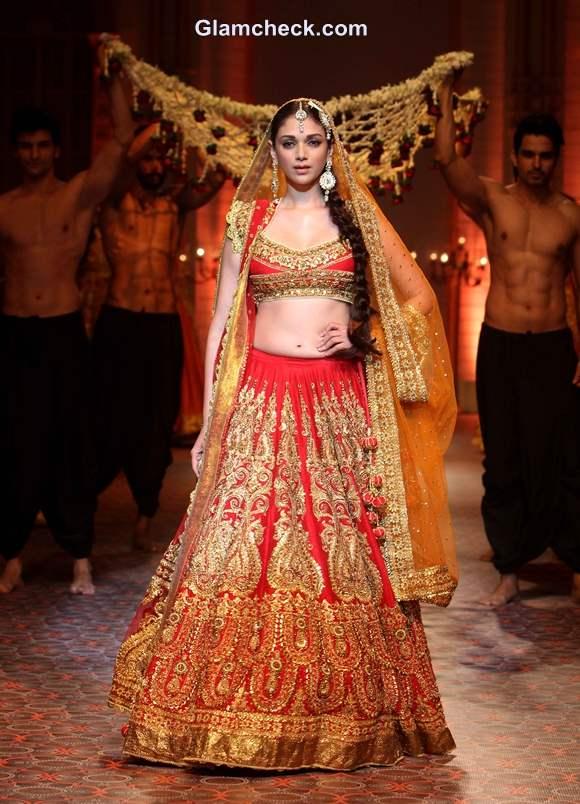 Aditi Rao Hyadri in a Red Gold lehenga for Preeti Misharm Kapoor IBFW 2013