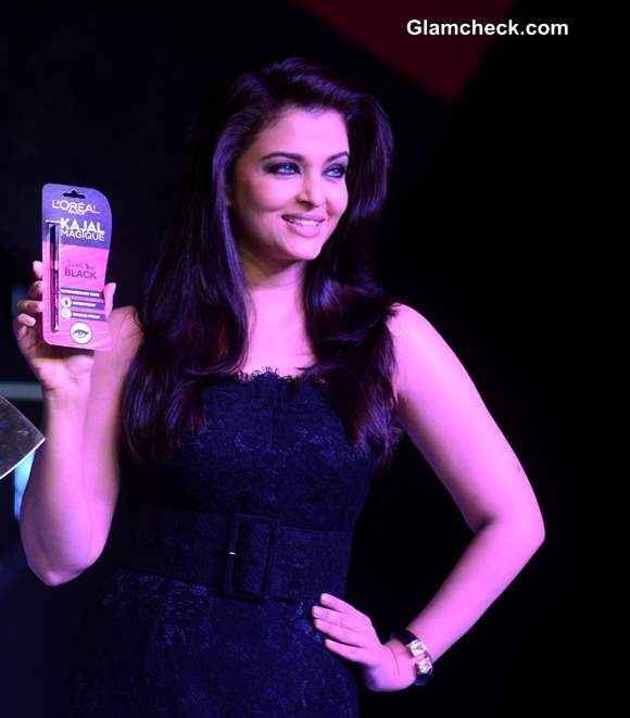 Aishwarya Rai Bachchan Launches LOreal Kajal Magique in Dolce and Gabbana Lace Gown