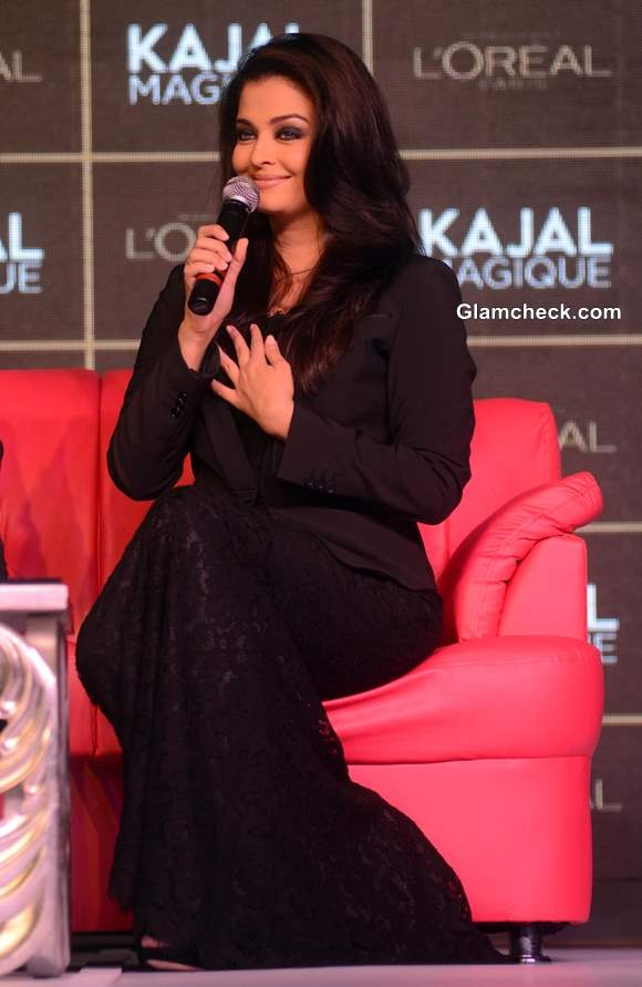 Aishwarya Rai Bachchan in Dolce and Gabbana Lace Gown Launches LOreal Kajal Magique