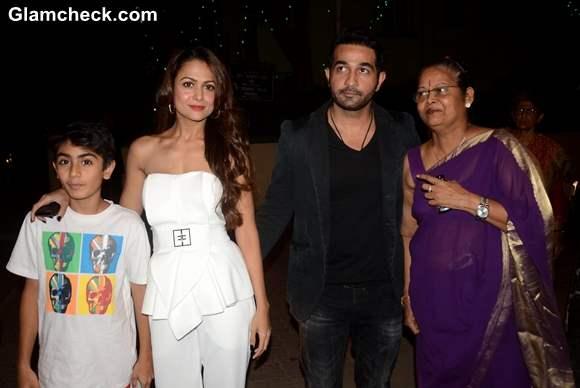 Amrita Arora with her nephew Arhaan Khan husband Shakeel Ladak and mother Joyce Arora