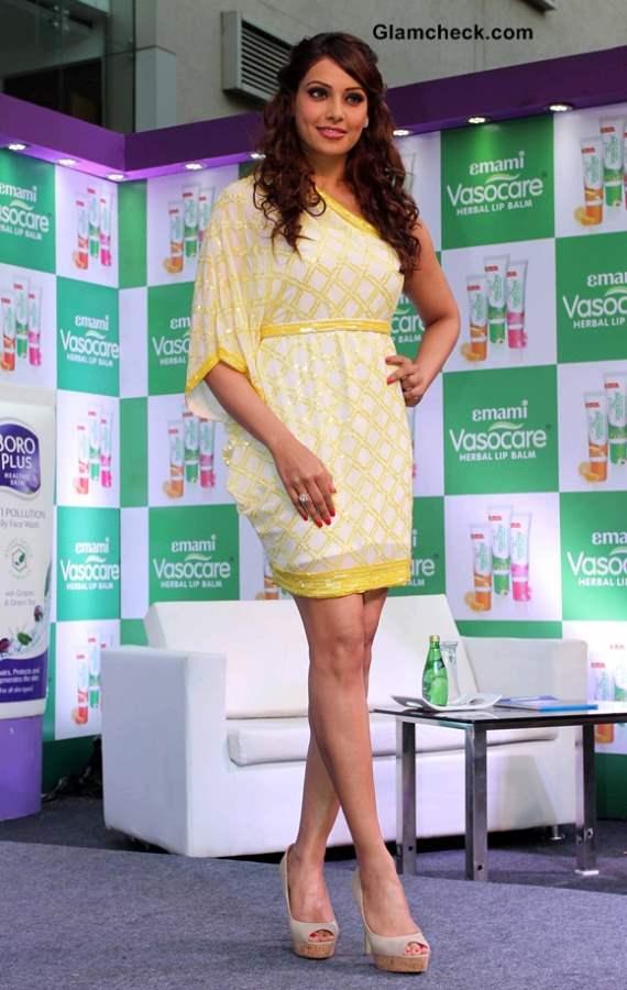 Bipasha Basu in a Sunshine Yellow Beaded Dress
