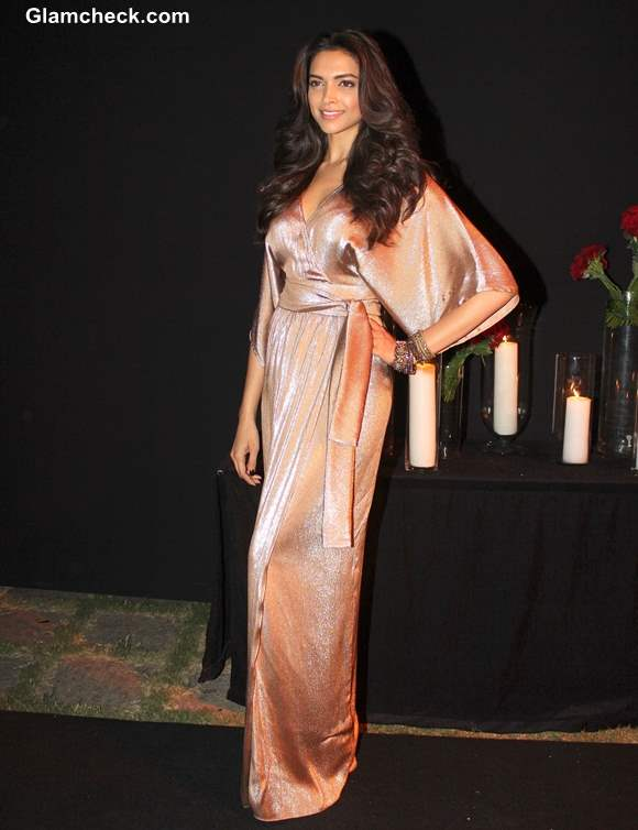 Deepika Padukone in Gold Gown at her success party
