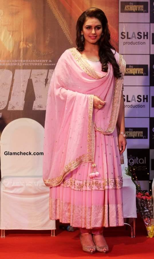 Huma Quresh in Pink Anarkali at the Launch of Dedh Ishqiya Music