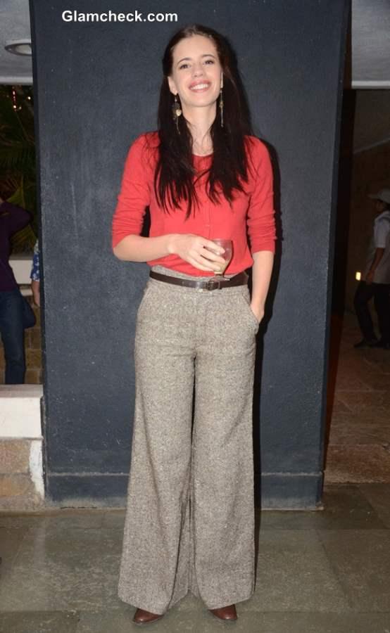 Kalki Kochelin in Tweed Pants Orange Shirt 2013