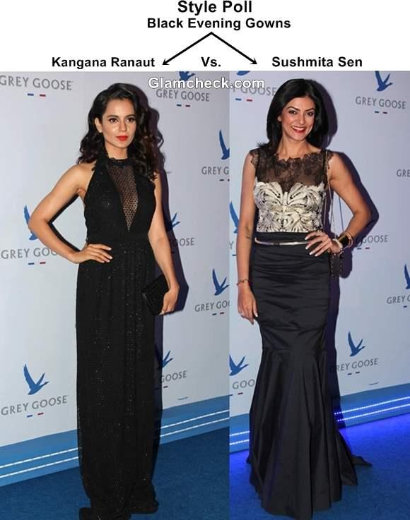 Kangana Ranaut Sushmita Sen in Black Evening Gowns 2013