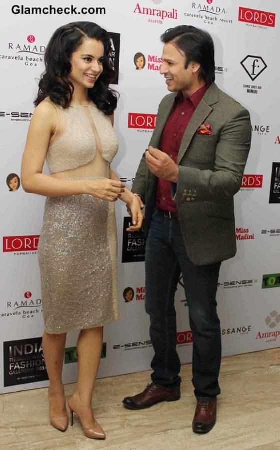 Kangana Ranaut Vivek Oberoi at the unveiling of Resort wear 2014 Fashion Calendar