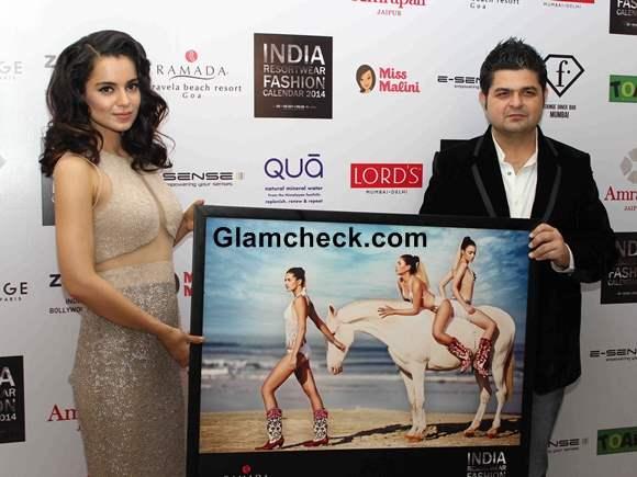 Kangana Ranaut at the unveiling of Resort wear 2014 Fashion Calendar