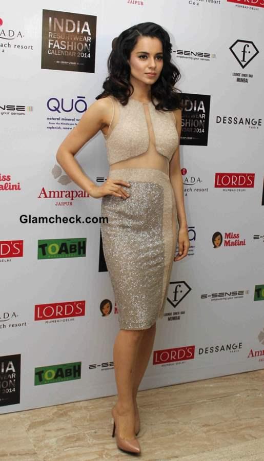 Kangana Ranaut in Beige Dress at the unveiling of Resort wear 2014 Fashion Calendar
