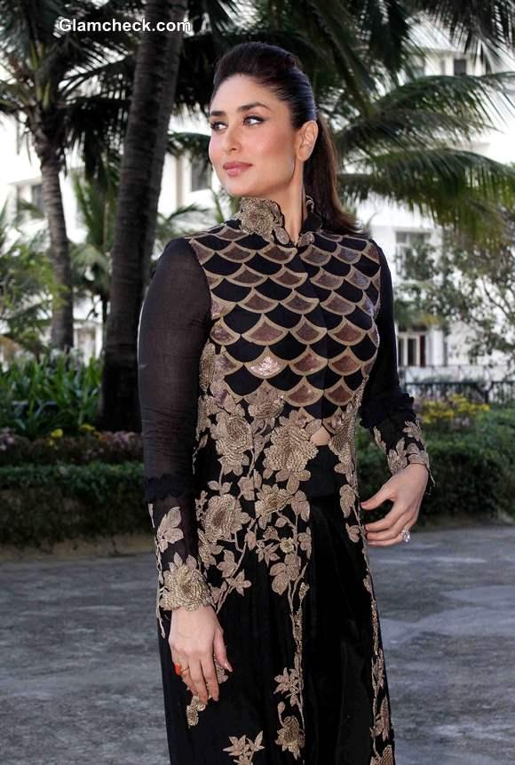 Kareena Kapoor 2013 in Anamika Khanna Black and Gold Outfit