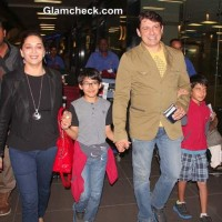 Madhuri Dixit Spotted at Mumbai International Airport with Hubby and Sons