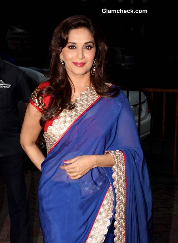 Madhuri Dixit in Blue Sari at Dedh Ishqiya Music Launch