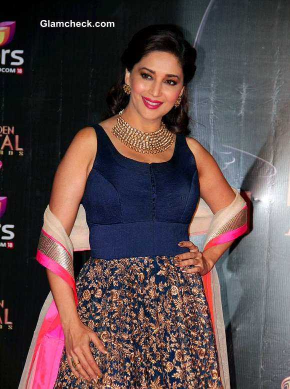 Madhuri Dixit in Blue at Colors TV 3rd Golden Petal Awards
