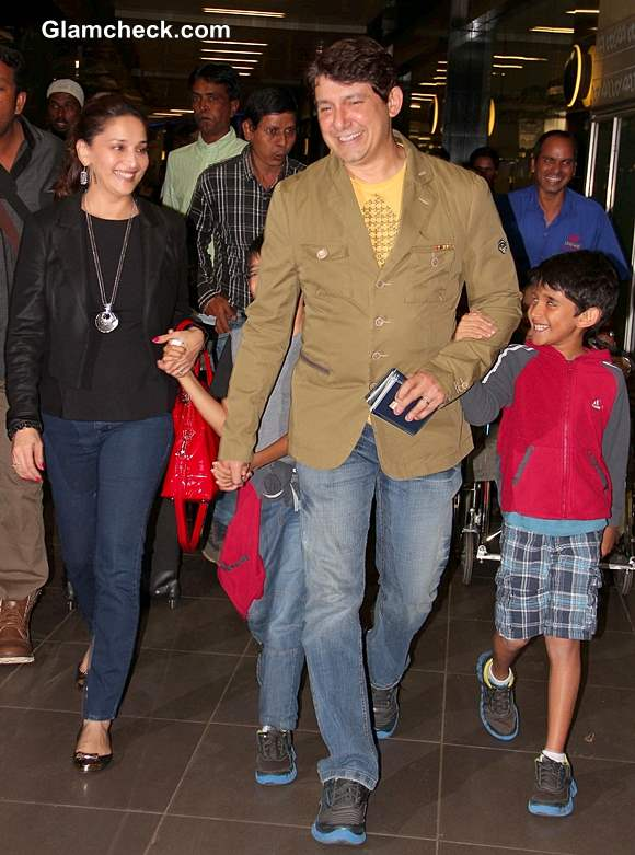 Madhuri Dixit with Her Sons and Husband