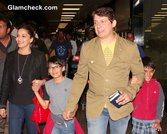 Madhuri Dixit with Hubby and Sons