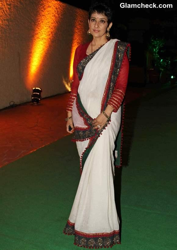 Manisha Koirala in white sari 2013 at Vishesh Bhatt wedding reception