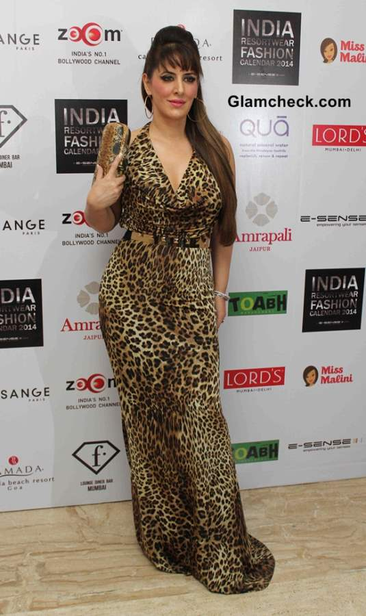 Pria Kataria Puri in Leopard Print Gown at the unveiling of Resort wear 2014 Fashion Calendar