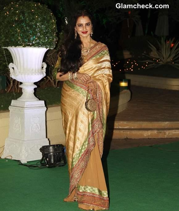 Rekha 2013 in sari pictures