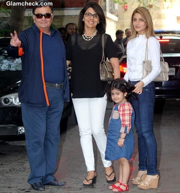 Rishi Kapoor along with his wife Neetu Singh and daughter Riddhima Kapoor Sahni