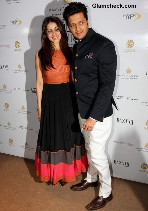 Riteish Deshmukh with his wife Genelia DSouza at India Bridal Fashion Week 2013 Mumbai