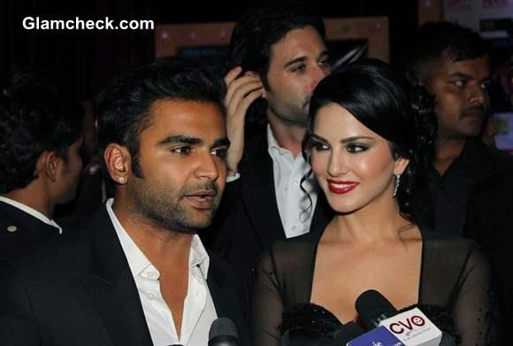 Sachin Joshi and Sunny Leone at Jackpot Premiere