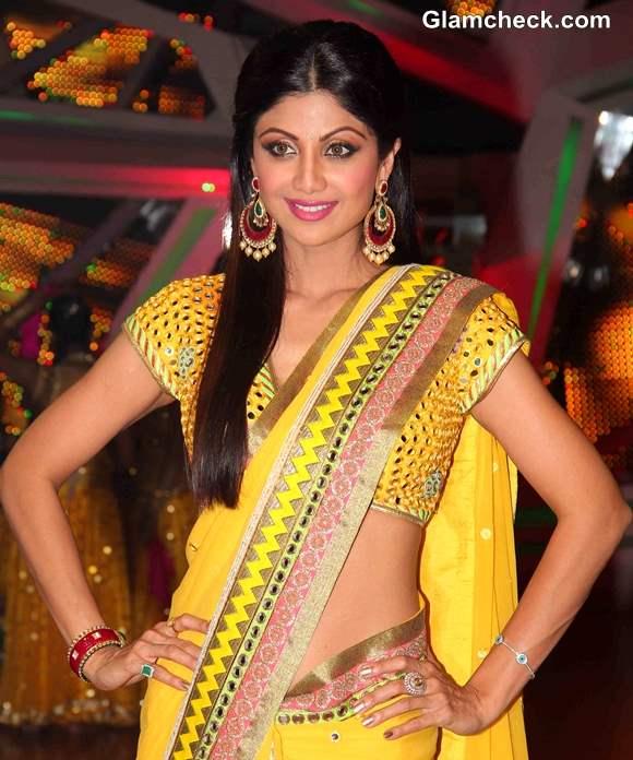 Shilpa Shetty 2013 Yellow Sari on Nach Baliye