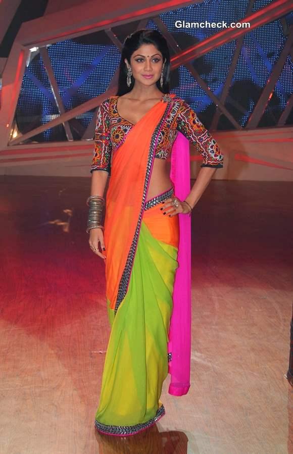 Shilpa Shetty in Nishka Lulla Color Block Sari Nach Baliye 6