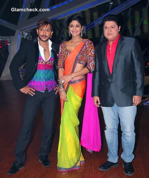 Shilpa Shetty in Nishka Lulla Color Block Sari on Nach Baliye 6