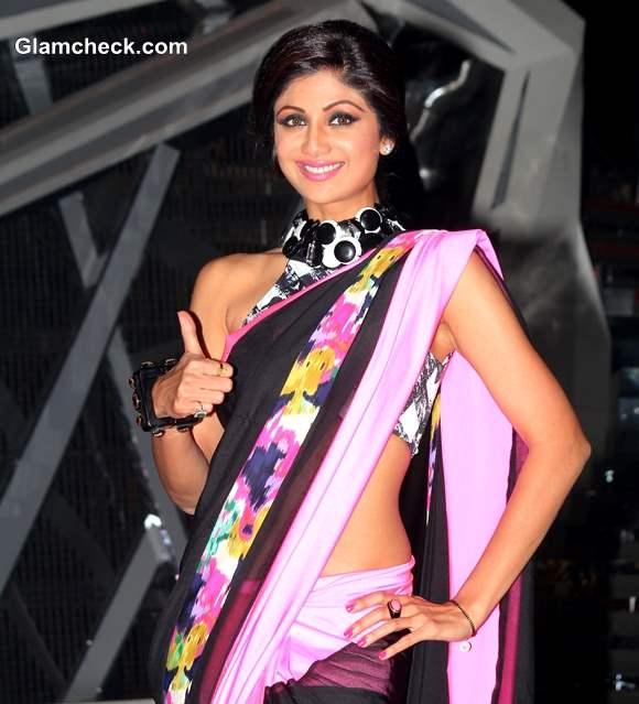 Shilpa Shetty in Pink Sari on Nach Baliye 6