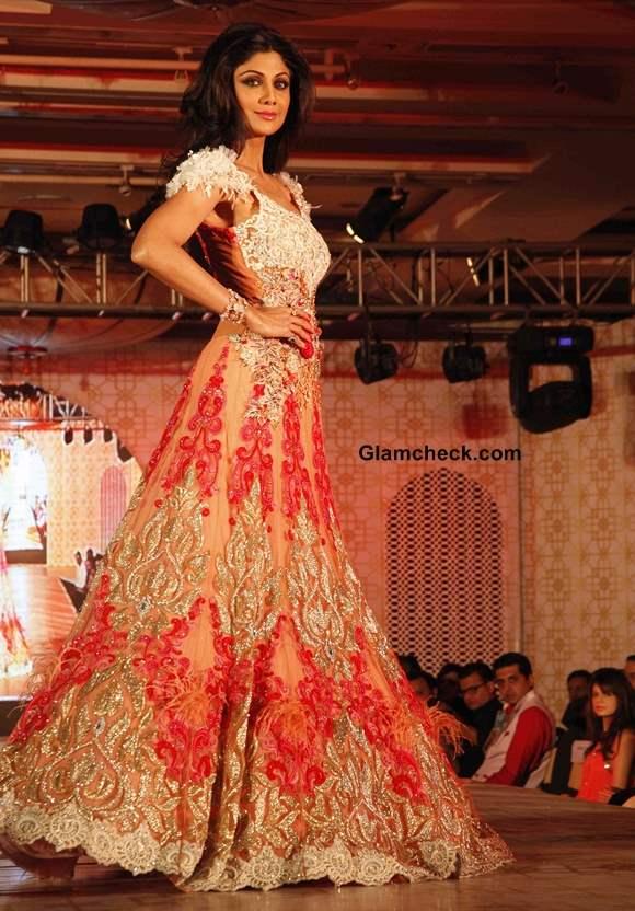 Shilpa Shetty in Rohit Verma Lehenga Gown at Marigold Watches Fashion Show