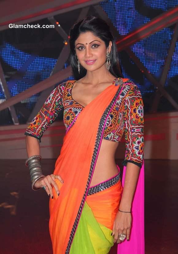 Shilpa Shetty in Sari on Nach Baliye 6
