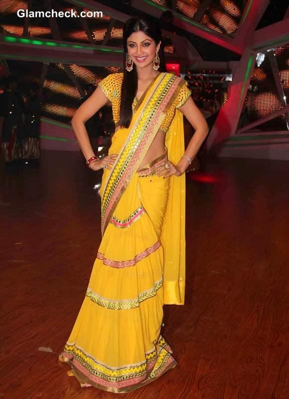 Shilpa Shetty in Yellow Sari on Nach Baliye