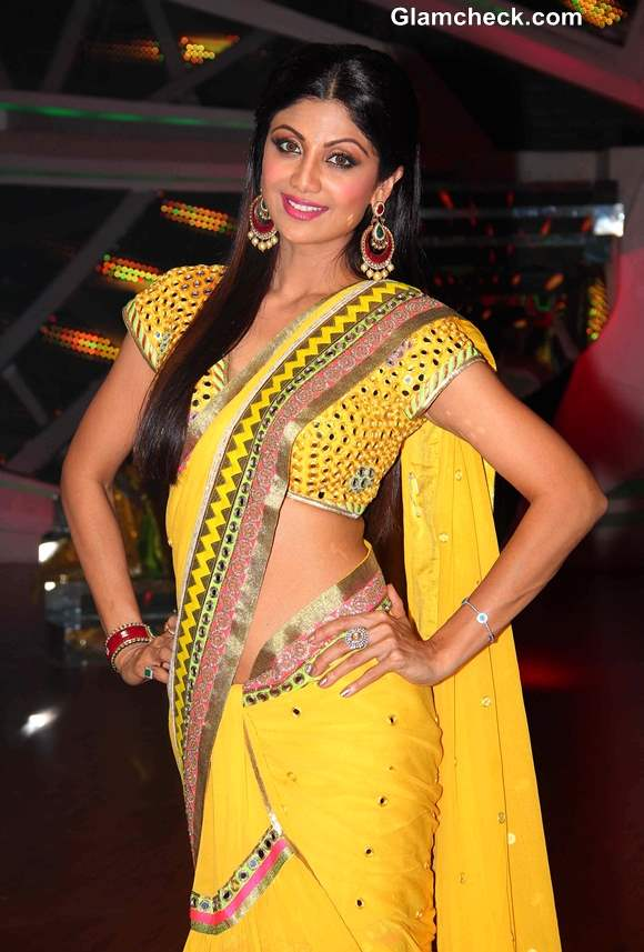 Shilpa Shetty in Yellow Sari