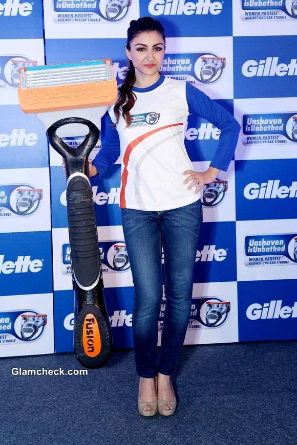 Soha Ali Khan Promotes Gillettes Unshaven is Unbathed Campaign