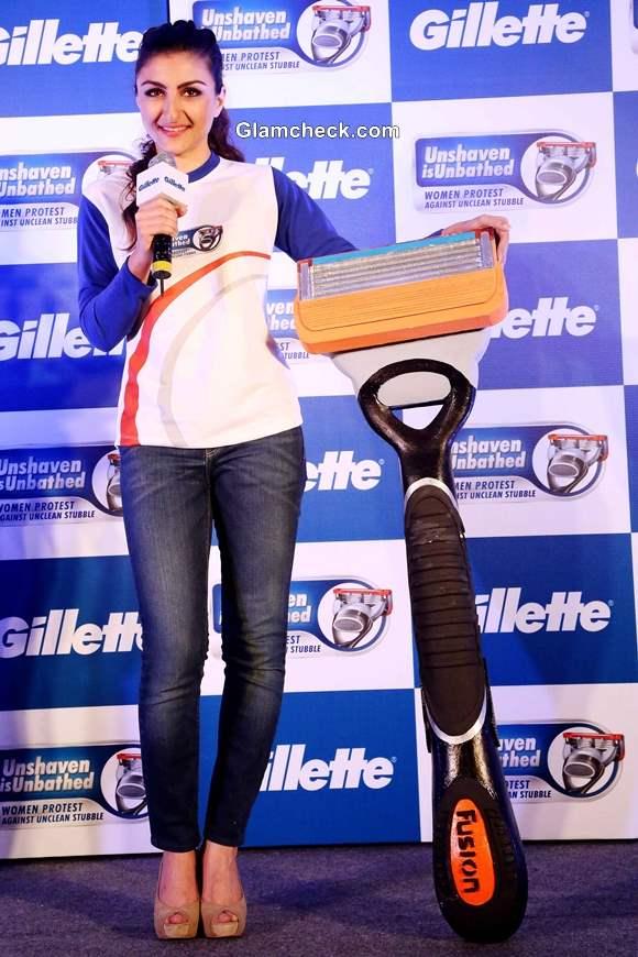 Soha Ali Khan for Gillettes Unshaven is Unbathed Campaign