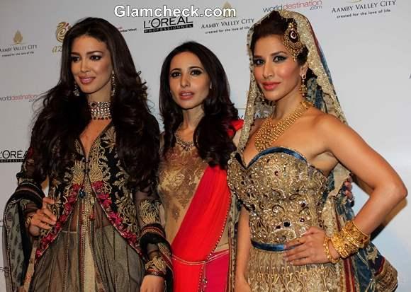 Sophie Choudry and Sahar Biniaz for Mandira Wirk at IBFW 2013 Mumbai