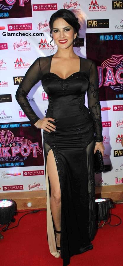 Sunny Leone In Black Gown Jackpot Premiere