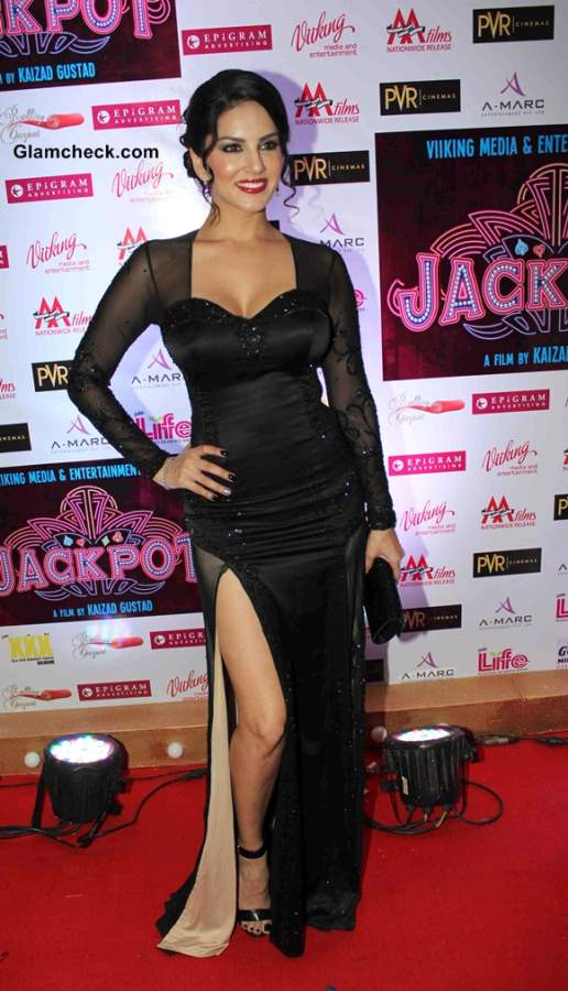 Sunny Leone In Black Gown at Jackpot Premiere