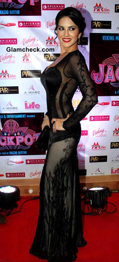 Sunny Leone In Black See-Through Gown at Jackpot Premiere